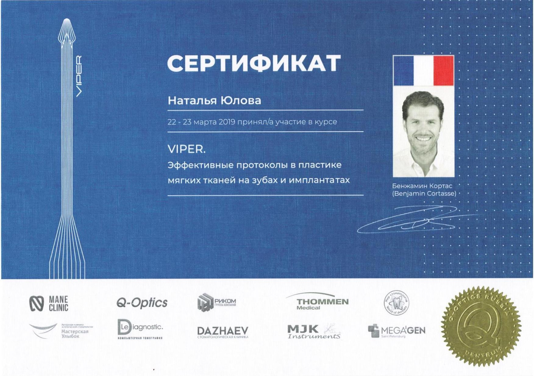 Сертификат Юлова (март 2019)