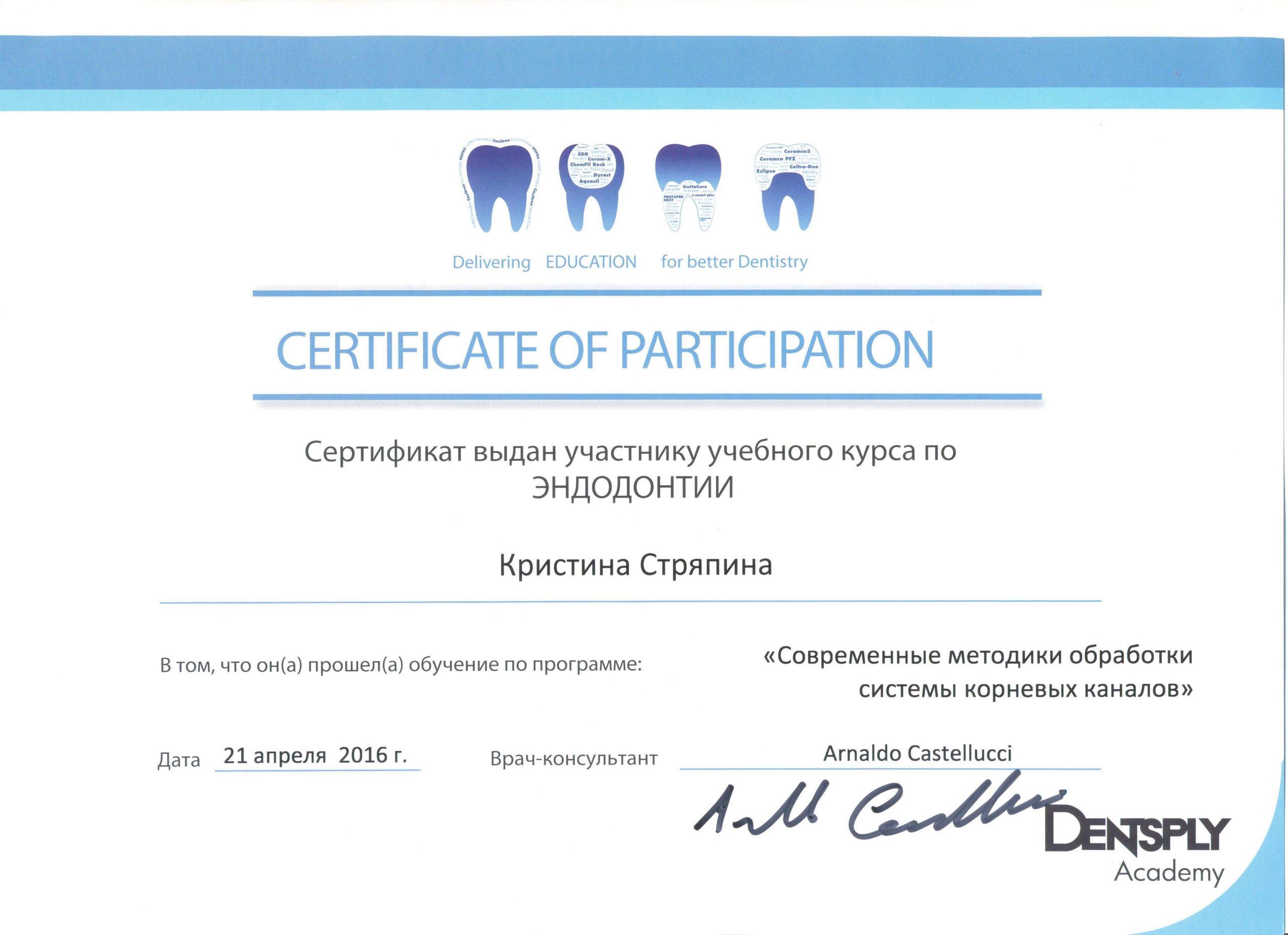 Сертификат Стряпина (апрель 2016)
