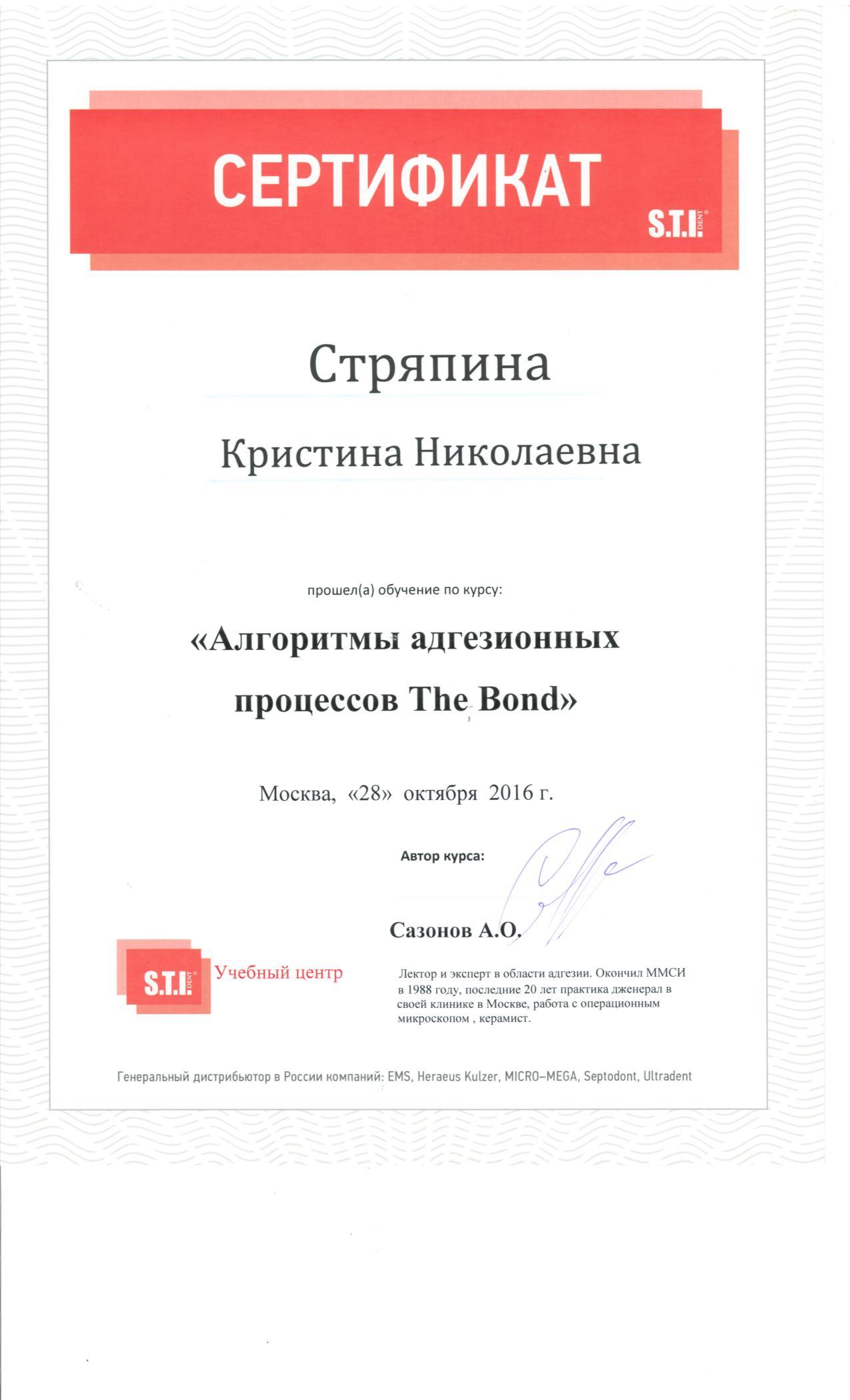 Сертификат Стряпиной Кристины (28.10.2016)