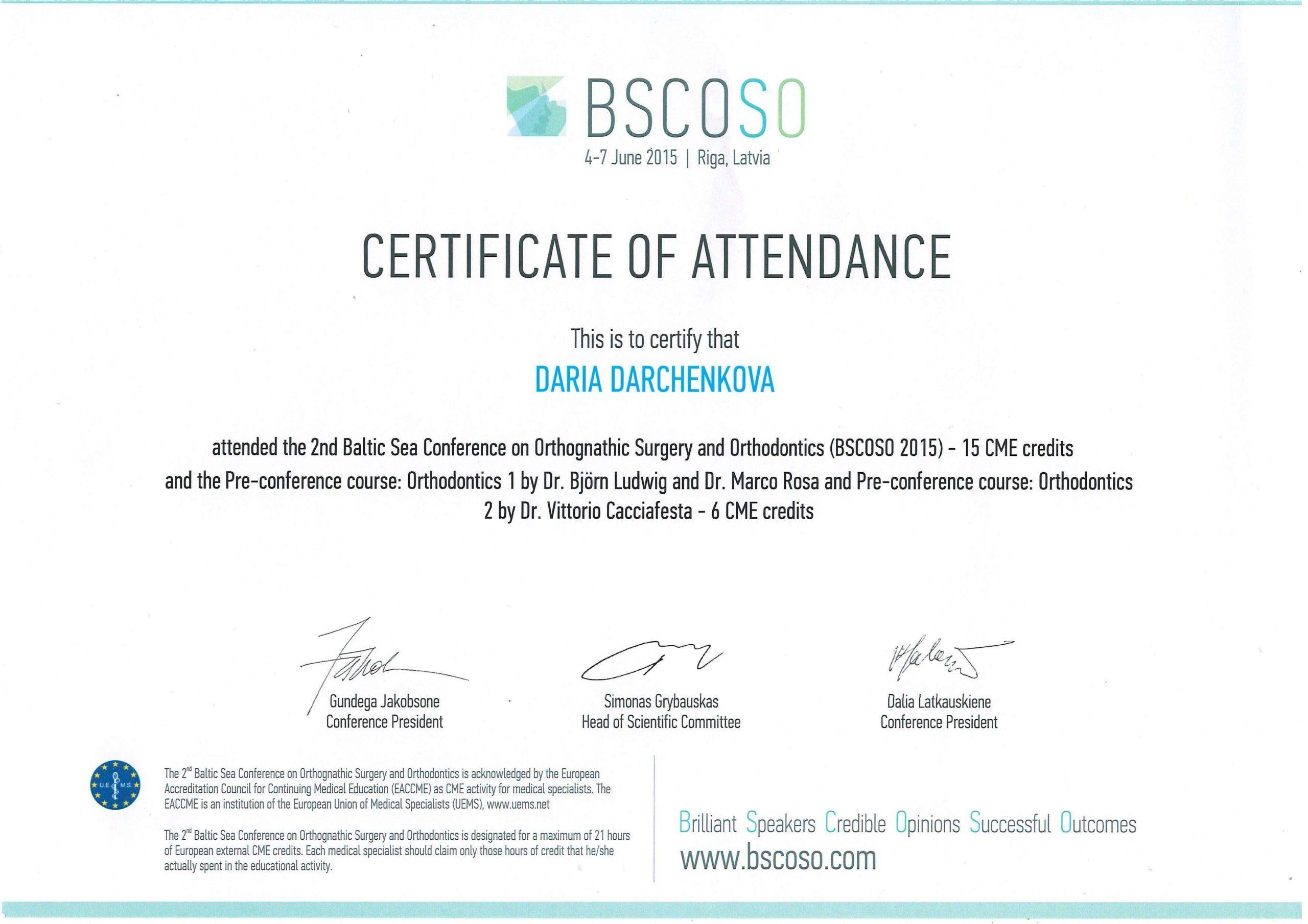 сертификат стоматолога Дарченкова 2015